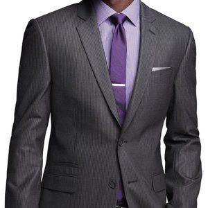 NWT Express Mens Dark Gray Striped Suit 44R, 36